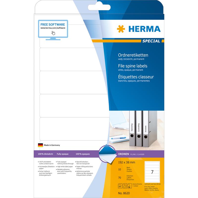 HERMA Ordnerrücken Etiketten SPECIAL 192 x 38 mm weiß 70 Etiketten