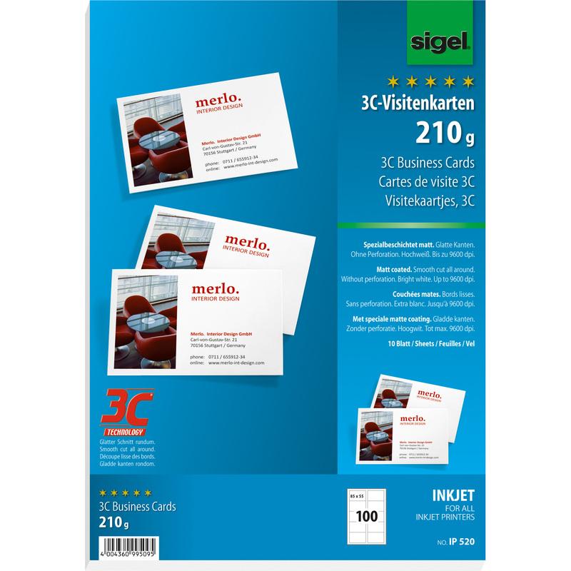 Sigel Visitenkarten 3c 85 X 55 Mm 210 G Qm Hochweiß