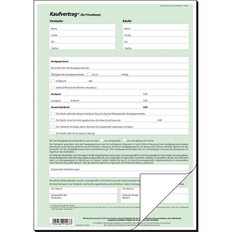 Sigel Vordruck Kaufvertrag Allgemein A4 Sd 2 Fach Kv420 Bei Www