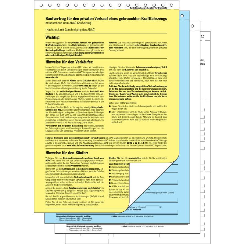 Sigel Vordruck Kaufvertrag Für Gebrauchtes Kfz A4 Kv440 Bei Www