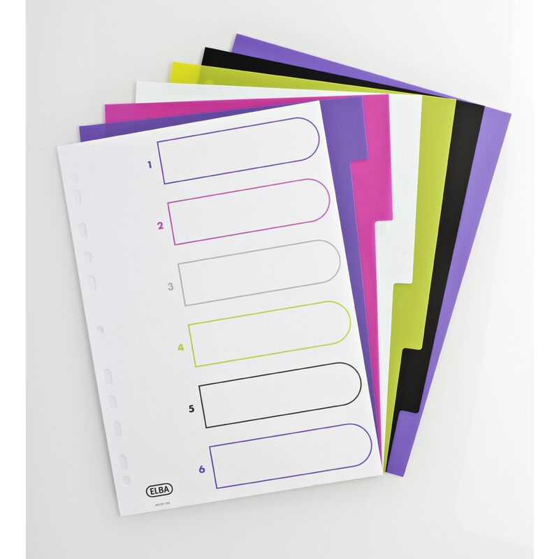 ELBA Kunststoff Register myColour DIN A4 6-teilig blanko