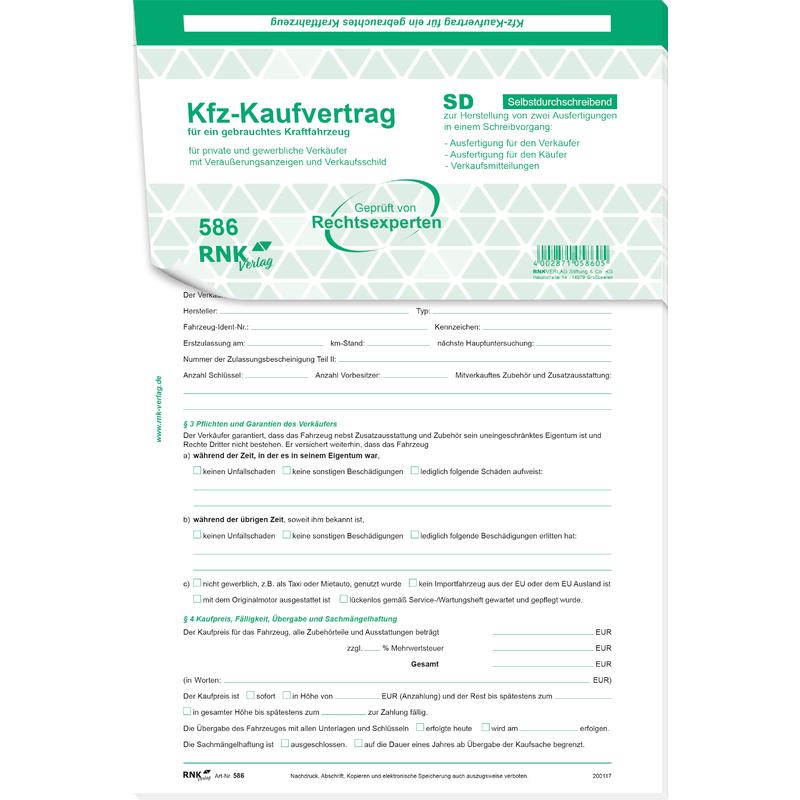 Rnk Verlag Kaufvertrag Für Ein Gebrauchtes Kraftfahrzeug 58610