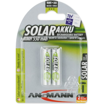 ANSMANN NiMH Akku SOLAR, Micro AAA, 550 mAh, 2er Blister