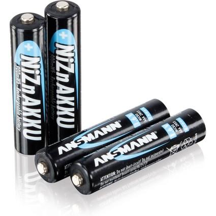 ANSMANN Nickel-Zink-Akku, Micro AAA, 900 mAh, 4er Shrink