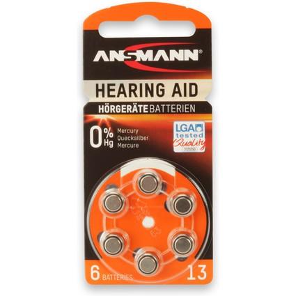 ANSMANN Hörgeräte Knopfzelle 13 (PR-48), 6er Blister