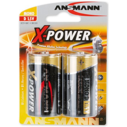 """ANSMANN Alkaline Batterie """"X-Power"""", Mono D, 2er Blister"""