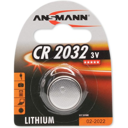 """ANSMANN Lithium Knopfzelle """"CR2032"""", 3,0 Volt, 1er-Blister"""