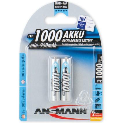 ANSMANN NiMH Akku Premium, Micro AAA, 1.000 mAh, 2er Blister