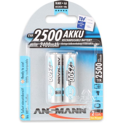 ANSMANN NiMH Akku maxE+, Mignon (AA) 2.500 mAh, 2er Blister