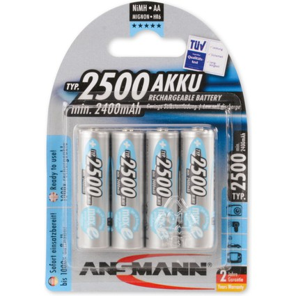 ANSMANN NiMH Akku maxE+, Mignon (AA) 2.500 mAh, 4er Blister