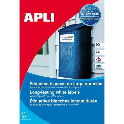 agipa Wetterfeste Folien-Etiketten, 45,7 x 21,2 mm, weiß