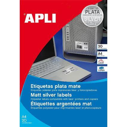agipa Typenschild-Etiketten, rund, Durchmesser 40 mm, silber