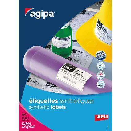 agipa Wetterfeste Folien-Etiketten, 105 x 148,5 mm, weiß