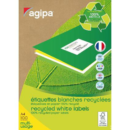 agipa Recycling Vielzweck-Etiketten, 99,1 x 38,1 mm, weiß