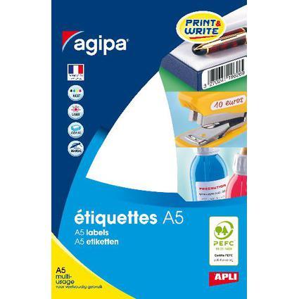 agipa Vielzweck-Etiketten, Durchmesser: 8 mm, rund, weiß