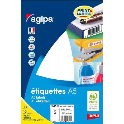 agipa Universal-Etiketten, 80 x 140 mm, weiß