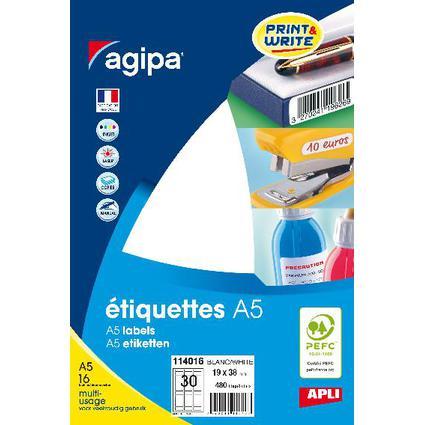 agipa Universal-Etiketten, 19 x 38 mm, weiß