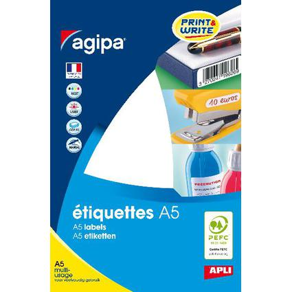 agipa Universal-Etiketten, 10 x 22 mm, weiß