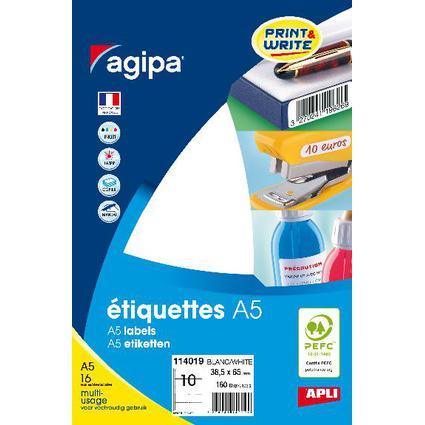 agipa Universal-Etiketten, 38,5 x 65 mm, weiß