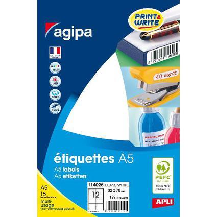 agipa Universal-Etiketten, 32 x 70 mm, weiß