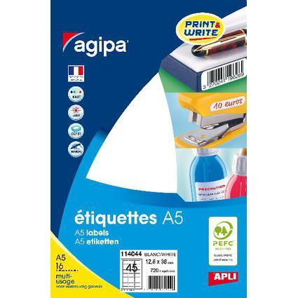agipa Universal-Etiketten, 12,8 x 38 mm, weiß