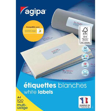 agipa Universal-Etiketten, 99,1 x 33,9 mm, weiß