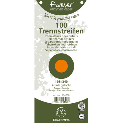 EXACOMPTA Trennstreifen Recycling, 105 x 240 mm, orange