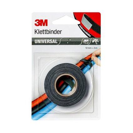 3M Universal Klettbinder, 12 mm x 3 m, schwarz/grau